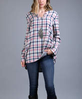Lily Pink & Blue Plaid Flannel Notch Neck Tunic - Plus Too
