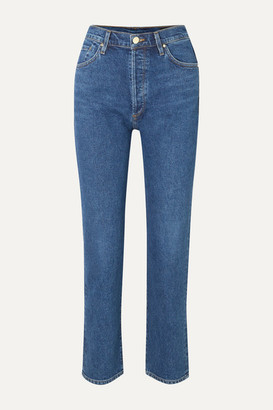 Gold Sign The Benefit High-rise Straight-leg Jeans - Mid denim