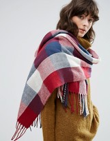 Pieces Blue Red and White Checked Blanket Scarf