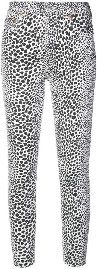RE/DONE high rise cheetah skinny jeans