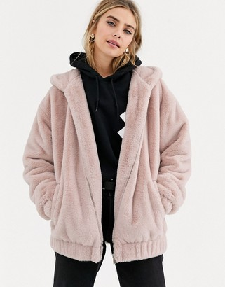 New Look fur bomber in pale pink-Tan