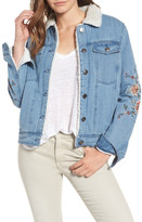 Cupcakes And Cashmere cupcakes & cashmere Bronx Faux Shearling Lined Embroidered Denim Jacket