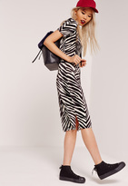 Missguided Zebra Crinkle Midi Skirt Black