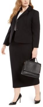Le Suit Plus Size Column Skirt Suit