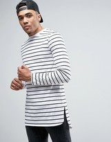 Asos Stripe Super Longline Long Sleeve T-shirt With Curved Step Hem