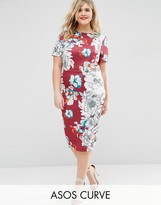 Asos Floral Midi Bodycon Dress in Scuba