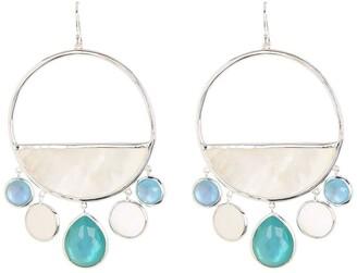 Ippolita Sterling Silver Wonderland Large Circle Shell & Crystal Stone Chandelier Earrings