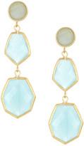 Rivka Friedman 18K Gold Clad Deco Design Caribbean Blue Quartzite Triple Drop Earrings