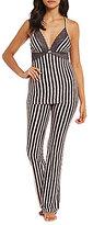 Betsey Johnson Striped Cozy Jersey & Lace Racerback Pajamas