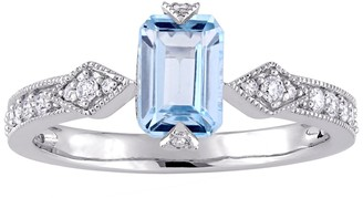 Stella Grace 10k White Gold Sky Blue Topaz & 1/4 Carat T.W. Diamond Engagement Ring