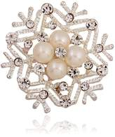 Winuxury Women's Elegant Diamontes Snowflakes Lapel Pins Pearl Suit Alloy Bridal Collar Brooch Pin