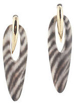 Alexis Bittar 10K Gold Plated Striped Lucite Double Hoop Earrings
