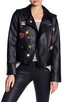 BB Dakota Ray Pin Patch Faux Leather Jacket