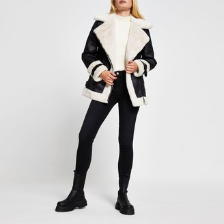 River Island Womens Black oversized shearling aviator jacket