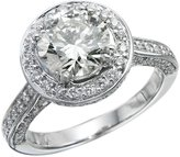 NDSTORE GIA Certiied 14k white-gold Round Cut Diamond Engagement Ring (2.64 cttw, Color, VS2 Clarity)