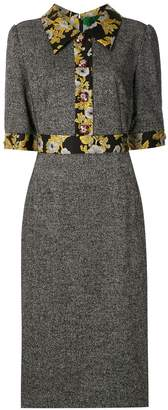 Dolce & Gabbana floral brocade panelled midi dress