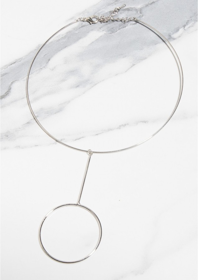 Missy Empire Harlie Silver Circle Choker Necklace