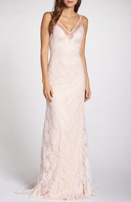 Tadashi Shoji Lace Applique V-Neck Tulle Wedding Dress