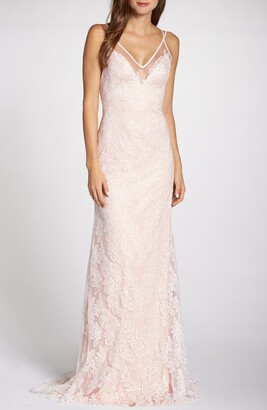 Tadashi Shoji Lace Applique V-Neck Tulle Wedding Dress