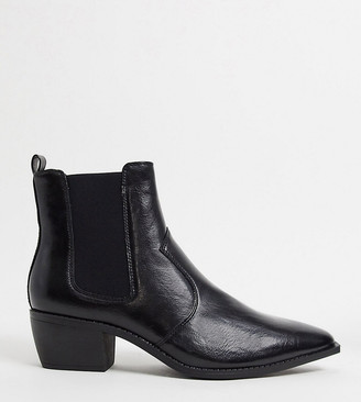 ASOS DESIGN Wide Fit stacked heel western chelsea boots in black faux leather with angular sole