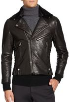 Ovadia & Sons Nelson Fur-Trimmed Leather Motocross Jacket