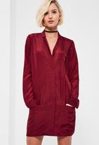 Missguided Burgundy Pocket Zip Front Shirt Dress