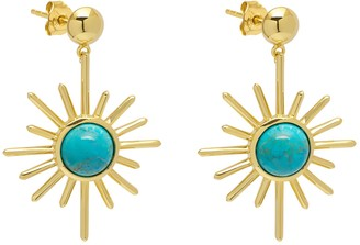 Lola Rose London Celestial Sunburst Drop Earrings Turquoise
