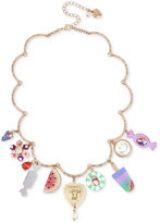 Betsey Johnson Rose Gold-Tone Pavé & Multi-Charm Statement Necklace