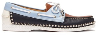 Christian Louboutin Steckel Stud-embellished Leather Deck Shoes - Multi
