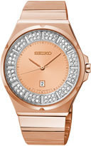 Seiko Womens Crystal-Accent Rose-Tone Stainless Steel Bracelet Watch SXDF74