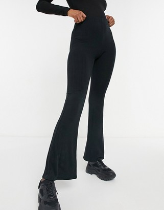 New Look ribbed flare leggings in black
