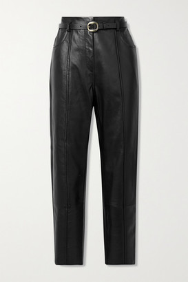 Petar Petrov Palmer B Belted Leather Straight-leg Pants - Black