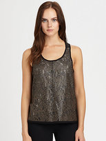 Patterson J. Kincaid PJK Rosewater Laser-Cut Leather & Jersey Tank