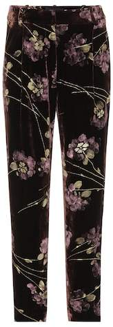 Co Floral-printed velvet trousers
