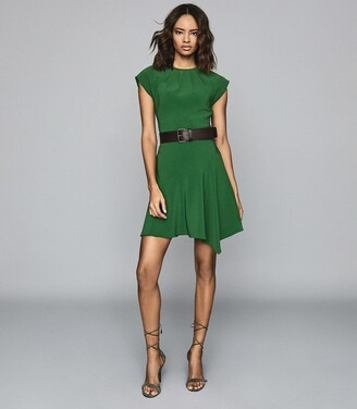 Reiss Belle - Capped Sleeve Dress in Green