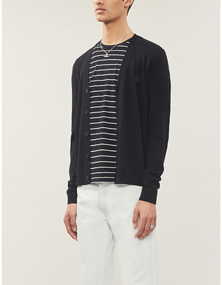 The Kooples Logo-patch wool cardigan