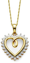 JCPenney FINE JEWELRY 1/10 CT. T.W. Diamond 14K Gold Over Sterling Silver Heart Pendant Necklace