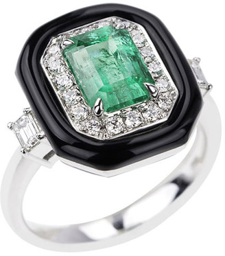 Nikos Koulis 18k White Gold Oui Emerald, Diamond & Enamel Ring, Size 7