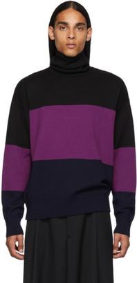 Dries Van Noten Black and Purple Wool Turtleneck