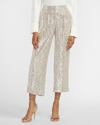 Express High Waisted Sequin Cropped Trouser Pant