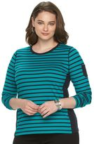 Chaps Plus Size Striped Pocket Tee