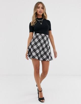 Miss Selfridge a-line mini skirt in check-Cream