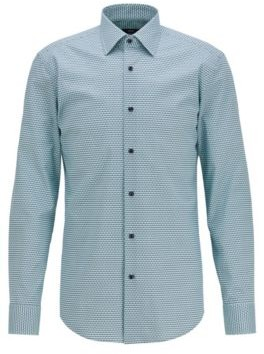 HUGO BOSS Slim Fit Shirt In Stretch Cotton With Seasonal Print - Light Green
