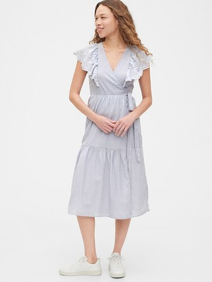 Gap Flutter Sleeve Midi Wrap Dress