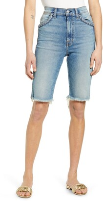 7 For All Mankind High Waist Cutouff Denim Bermuda Shorts
