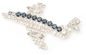 Art School Aeroplane Crystal-embellished Brooch - Blue
