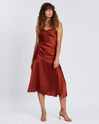 Topshop Ruched Bias Satin Slip Dress