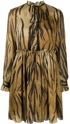 Etro Tiger-Print Tie-Neck Dress