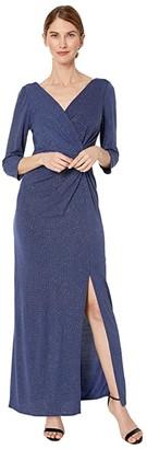 Alex Evenings Petite Long Metallic Knit Surplice Neckline Dress (Evening Blue) Women's Dress