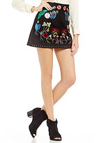 Gianni Bini Bree Embroidered Faux Suede Skirt